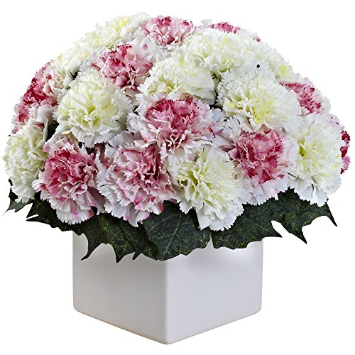 Nearly Natural 1372-MW Carnation Arrangement with Vase, Mauve/White