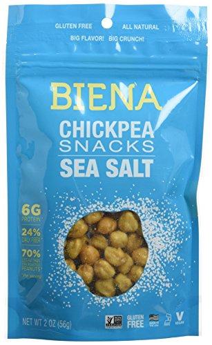 Biena All Natural Roasted Chickpeas Snacks Case of 12 - 2 oz bags (Sea Salt) by Biena