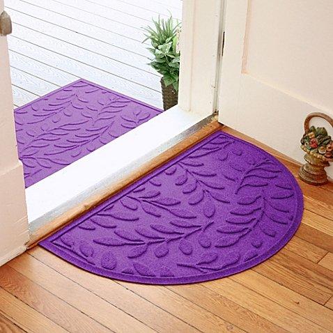 Weather Guard Brittney Leaf Half Oval Door Mat (Purple)