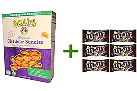 Annie's Homegrown, Organic, Cheddar Bunnies, Baked Snack Crackers, 11 oz (312 g)(5 PACK),M&M MILK CHOCOLATE 6/1.69oz