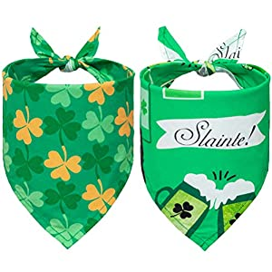 EXPAWLORER St. Patrick's Day Dog Bandanas – 2 Pack Triangle Bibs Scarf for Small to Large Dogs & Cats