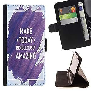 Dragon Case - FOR Samsung ALPHA G850 - make today ridiculously amazing - Caja de la carpeta del caso en folio de cuero del tir¨®n de la cubierta protectora Shell