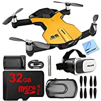 Wingsland S6 Quadcopter Yellow Mini Pocket Drone 4K Camera Bundle with Deco Essentials VR Viewer, 32GB MicroSD High-Speed Memory Card, Microfiber Cleaning Cloth