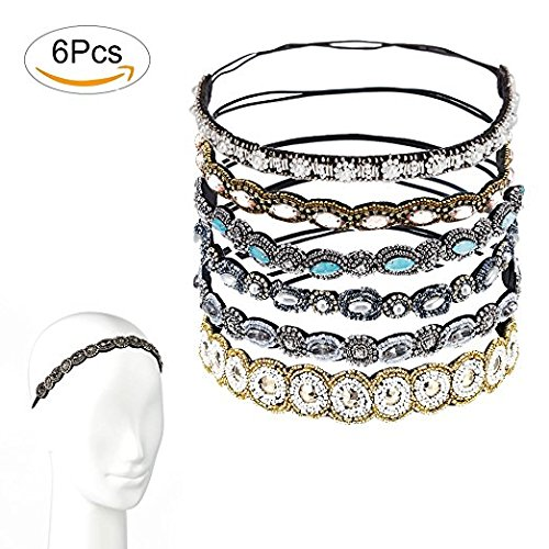 """Fomei Rhinestone Beaded Elastic Headband, Fashionable Handmade Crystal Beaded Elastic Hairbands Lady Women Girls Hair Jewelry Accessories, 20-26.8"""" Fits for Most, 6 Pieces"""