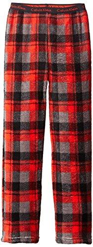 Calvin Klein Little Boys' Plush Sleep Pant, Red Plaid, 7/8
