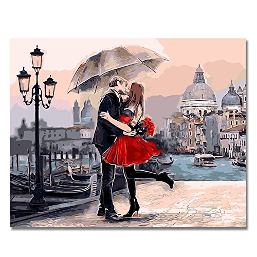 Romantic Kiss - KOTWDQ Diy Oil Painting by Numbers, Paint by Number Kits-Romantic Kiss Lover-PBN Kit for Adults Girls Kids Christmas 16x20inch (Frameless) Without Frame D1005149