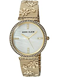 Women's AK/3146MPGB Swarovski Crystal Accented Gold-Tone Textured Bangle Watch