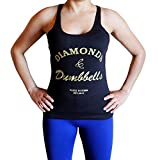 Diamonds and Dumbbells Tank Top - Comfortable racerback to wear at Gym, Yoga, workout and crossfit - Small