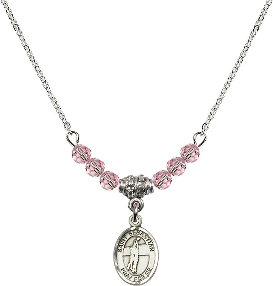 Volleyball Charm. 18-Inch Rhodium Plated Necklace with 4mm Light Rose Birthstone Beads and Sterling Silver Saint Sebastian