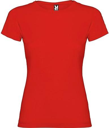 Camiseta roja para Mujer, Manga Corta, 100% algodón: Amazon.es: Ropa y accesorios