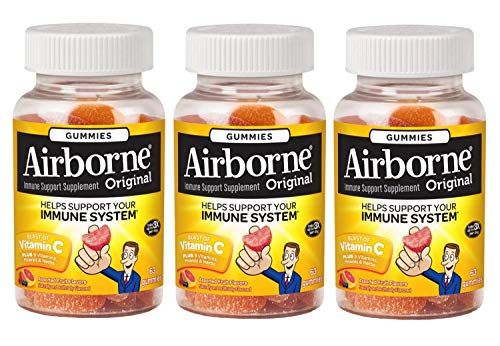 Airborne Assorted Fruit Flavored Immune Support Gummies w 1000mg of Vitamin C, High in Antioxidants Vitamins C E , Proprietary Herbal Blend Echinacea Ginger , Gluten Free, 63 Count 3 Pack