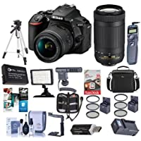 Nikon D5600 DSLR Camera Kit with AF-P DX NIKKOR 18-55mm f/3.5-5.6G VR and AFP DX 70-300/4.5-6.3G Lenses, Black - Bundle with Camera Case, 64GB SDxC Card, Spare Battery, Tripod, Video Light and More