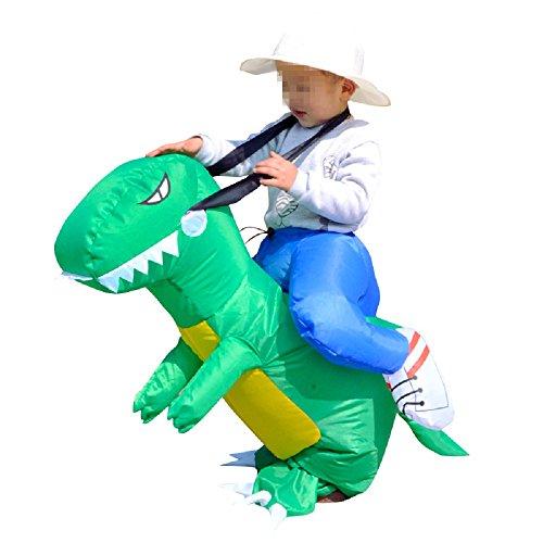 Inflatable T-rex Dinosaur Unicorn Cowboy Costume Halloween Costume Inflatable Costumes for Adults (Dinosaur) (Toddler, Green Dinosaur)]()