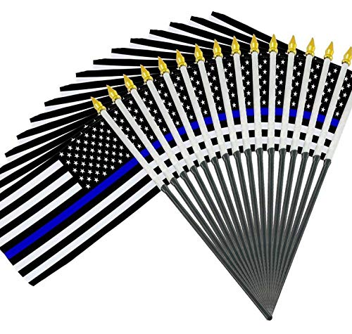 (Kaputar 25 Police Thin Blue Line 4x6 Handheld Miniature Desk Table Flags (Made in USA) | Model FLG - 7408)