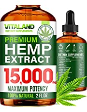 Hemp Oil for Stress & Anxiety Relief 15000 MG - High Bioavailability - 100% Natural - Made in USA - Anti-Inflammatory, Hip & Joint Support - Calm Sleep & Mood Support - Omega 3, 6 & 9