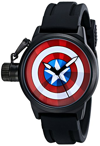 (Marvel Men's W001753 The Avengers Captain America Analog-Quartz Black Watch)