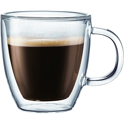 Bodum Bistro Double-Walled Transparent 10 Ounce Coffee Mug, Set of 6