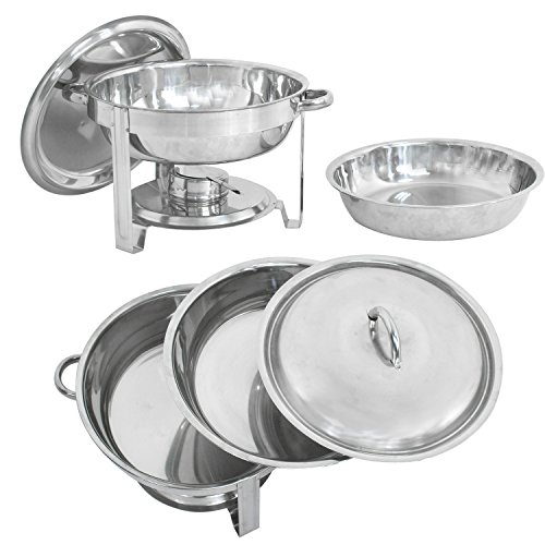 LEMY Full Size Deluxe Round Chafing Dish 5 Quart Capacity Stainless Steel Chafer Dish with Fuel Holder Dinner Serving Buffet Warmer Set