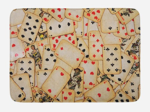 Ambesonne Casino Bath Mat, Old Playing Cards Themed Vintage Classic Style Entertaining Wealth Fortune, Plush Bathroom Decor Mat with Non Slip Backing, 29.5 W X 17.5 L Inches, Beige Red Black]()