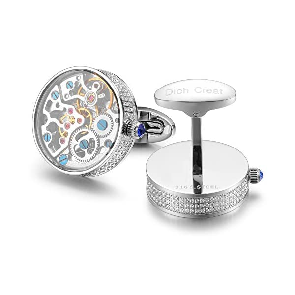 Dich-Creat-Rhodium-Plated-Hand-Made-Inlay-Jewels-New-Movement-Cufflinks-Covered-with-Glass
