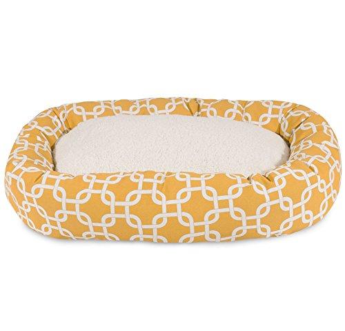 N2 Medium Yellow White Geometric Pattern Dog Bed, Modern Fau