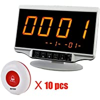 Restaurant Paging System,Wireless Calling System Waiter Caregiver Pager with 1PC LCD Display Receiver + 10PCS Waterproof Call Buttons