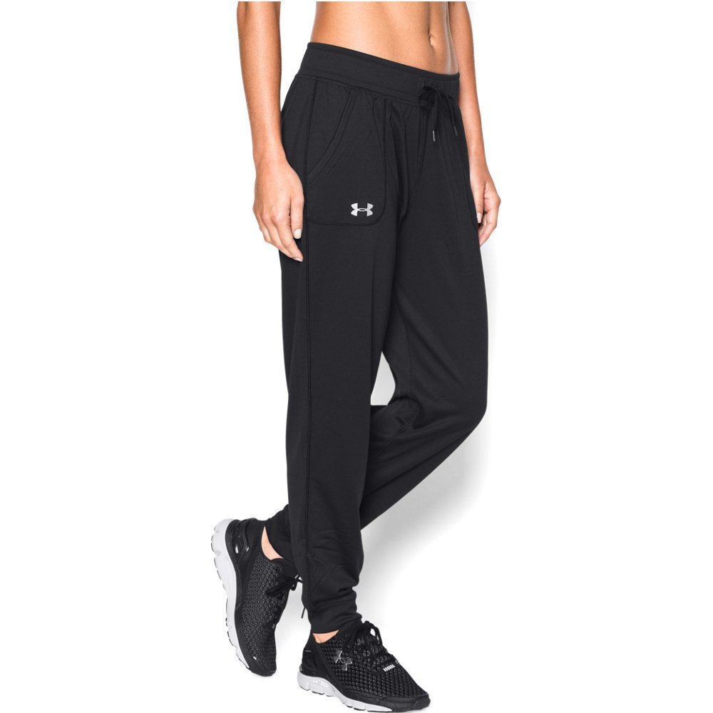 Under Armour Women's Tech Pant Solid, Black (001)/Metallic Silver, X-Large by Under Armour