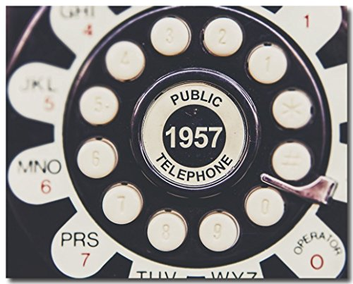 Retro Wall Art, Mid Century Modern Decor, Vintage Public Telephone Photograph, 1957, Antique Art - 1957 Poster Print