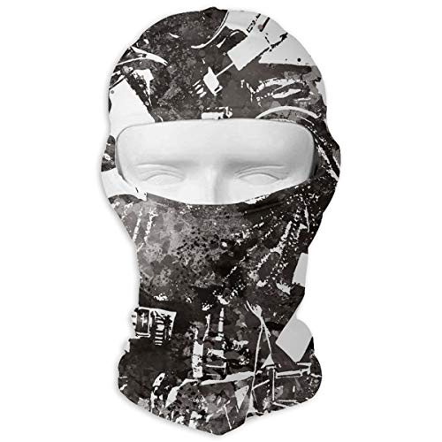 Queendesign Fireman Firefighter Black Watercolor Balaclava Windproof Ski Face Mask Winter Motorcycle Neck Warmer Tactical Hood for Women MenSnowboard Cycling Hat Outdoors Helmet Liner -
