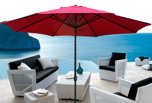 New 8'FT Patio Outdoor Beach Market Sun Aluminum Umbrella w/ Crank Shade (Red)