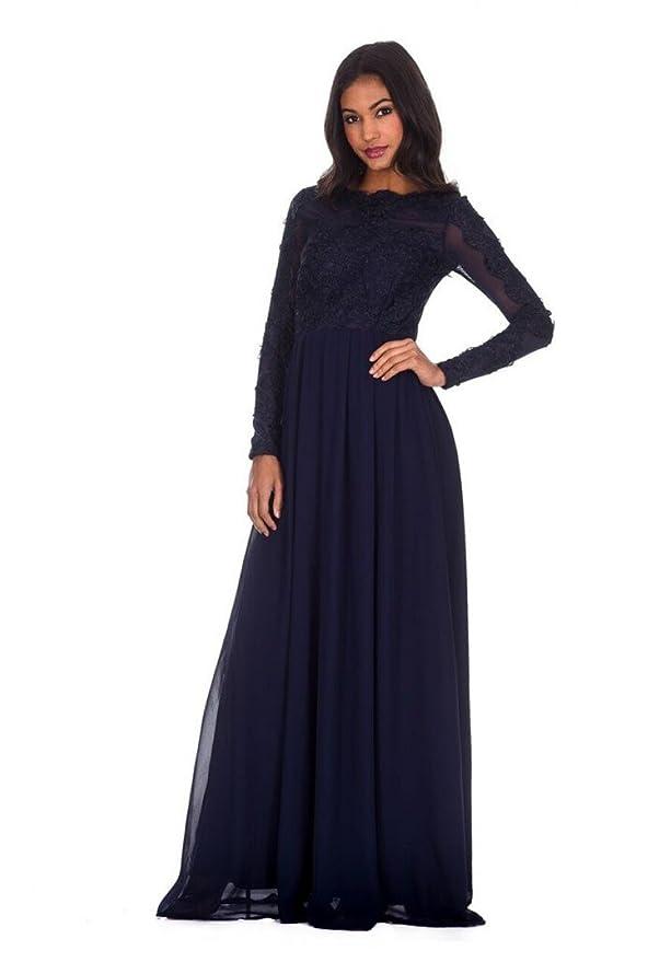 620b3e5542 AX Paris Women s Lace Insert Maxi Dress at Amazon Women s Clothing store