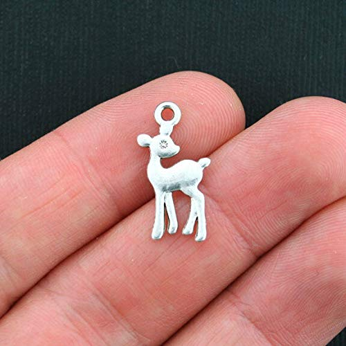 Extensive Collection of Charm 8 Fawn Charms Antique Silver Tone 2 Sided Deer- SC1948 Express Yourself