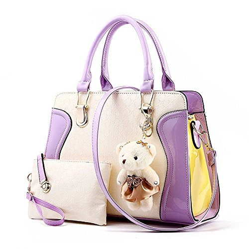 Desklets Women's 2 Piece Cute Bear Lovely Tote Bags Top Handle Handbag (Purple)