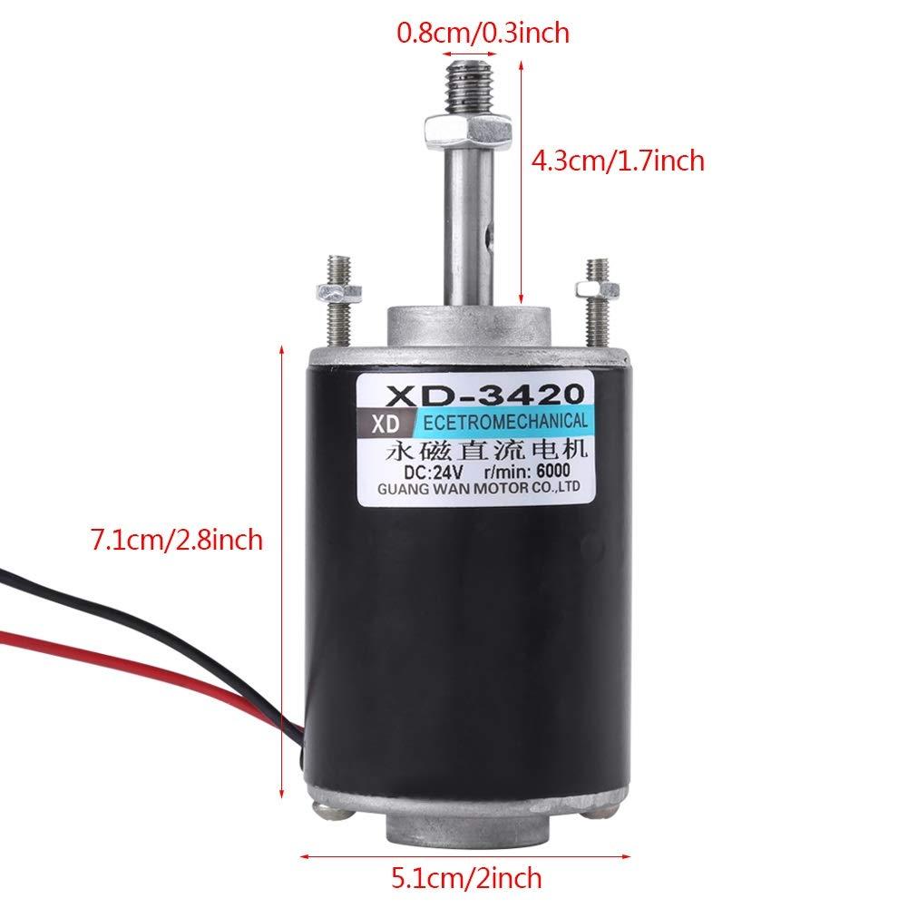 24V 30W Hochgeschwindigkeits-CW//CCW-Permanentmagnet-Gleichstrommotor f/ür DIY-Generator DC-Motor Gr/ö/ße : DC12V 12