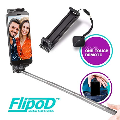 Flipod Selfie Stick All-in-one Universal Bluetooth Extendable Smart Adjustable Phone Cradle Selfie mount Tripod Stand Device with Remote control for iPhone X/iPhone 8/8 Plus/iPhone 7/iPhone 7 Plus/Gal by Zeso lens