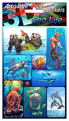 Lenticular Stickers (Sea Life 3D Lenticular Stickers by Artgame - One Sheet of 8 Assorted Ocean Animal Stickers)