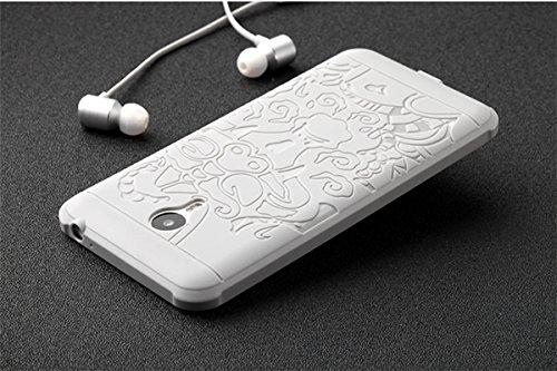 Meizu M2 Note Case, CaseFirst Auspicious Dragon Relief Ultra Thin Slim Shockproof Soft Silikon Schutz Stoßfänger für Meizu M2 Note (Grau) Hellgrau
