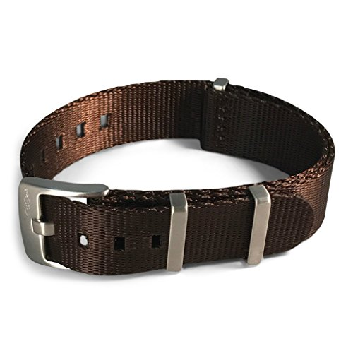 [AlphaShark by BluShark - Luxury Seat Belt Nylon Watch Strap - 22mm Espresso Brown] (Brown Shark Watch)