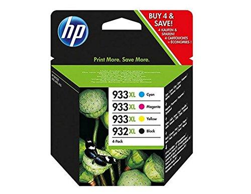 HP 932XL-933XL 4 Pack Set- Black and Color Inkjet Set 1 HP 932XL Black CB053AN by HP
