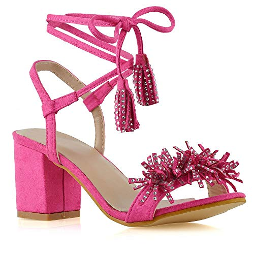 ESSEX GLAM Womens Block Heel Sandals Ladies Fuchsia Faux Suede Fringe Diamante Lace Up Strappy Shoes Size 10 B(M) US