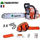 Tronçonneuse Timberpro 62 cm3 guide de 50 cm avec 3 chaines + housse de transport