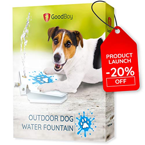 (GoodBoy Water Fountain for Dogs – Interactive Paw Pedal Design Stimulates Pets and Keeps Them Cool – New Durable Leak-Proof Dispenser – Keeps Furry Friends Healthy Happy and Hydrated!)