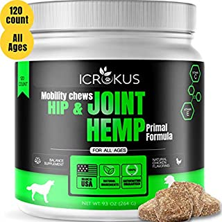 ICROKUS Hemp Mobility Hip & Joint Supplement for Dogs with Probiotics Glucosamine Chondroitin + MSM - Turmeric Soft Chews 120 Count