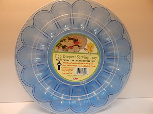 Spring Holiday Dyed Eggs Easter Eggs Colored Eggs Deviled Eggs Tray with Lid Blue Holds 24 Snap On Lid Deviled Egg Tray Deviled Egg Carrier with Lid