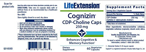 Life Extension Cognizin CDP-Choline Caps 250mg, 60 Vegetarian Capsules by Life Extension (Image #1)