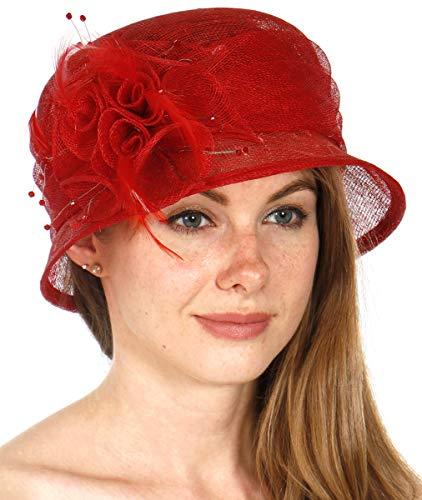 SERENITA Church Hats for Women   Tea Party Hats   Fasciantor Derby Hats   Sinamay Bucket Hats, Flower-red