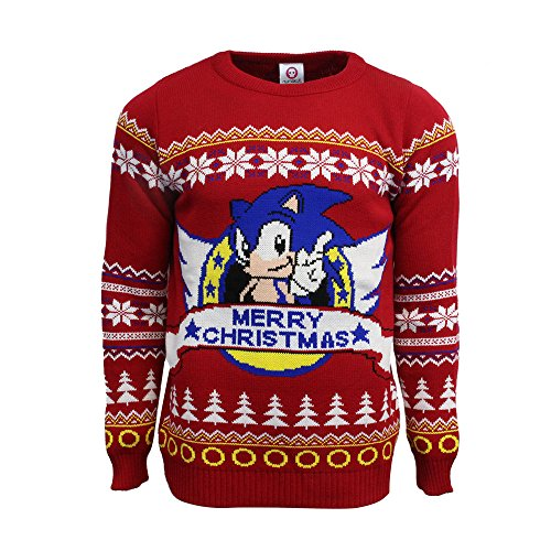 Official Sonic the Hedgehog Christmas Jumpers - Ugly Novelty Gifts Men Or Women Xmas Jumper - Officially Licensed SEGA Unisex Knitted Sweater Design (Jumper Retro Christmas Ladies)