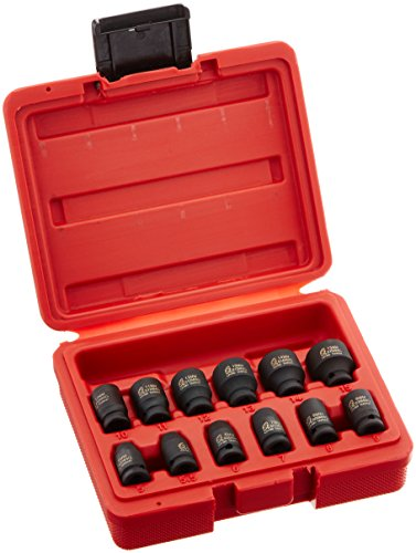 Sunex 1822 1/4-Inch Drive Magnetic Impact Socket Set Metric, 12-Piece ()