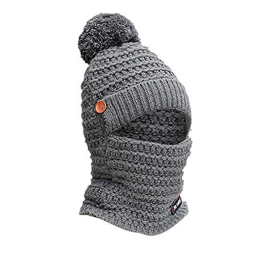 (Yoyorule Winter Warm Cap Adult Women Men Winter Earmuffs Knit Hat Scarf Hairball Warm Cap Gray)