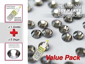 No Swarovski HOT-FIX negro diamante de imitación (5 bolsas de ss08 - 2,5 mm) y gema Tac Hangerworld mischiefs (1 botella de 59 ml) Value Pack
